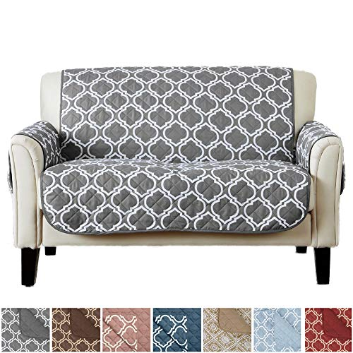 Home Fashion Designs Adalyn Collection Deluxe Reversible Quilted Furniture Protector. Beautiful Print on One Side/Solid Color on The Other for Two Fresh Looks Brand. (Loveseat, Charcoal) from Home Fashion Designs