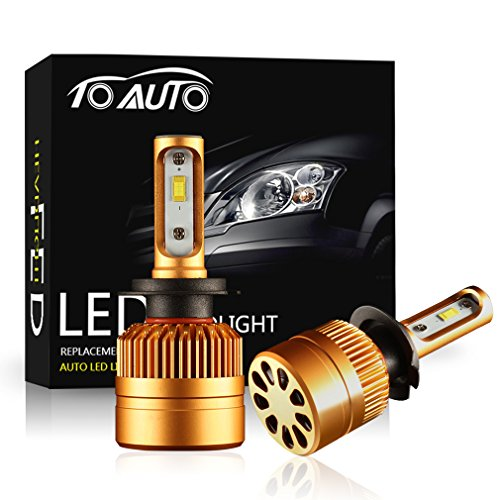 TOAUTO H7 LED Headlight Kit Bulbs with Super Bright Upgraded Chips,All-in-One Conversion kit 8000LM 6000K, Replace for Halogen Bulbs - Xenon White