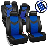 2003 350z leather seat covers - FH Group PU021BLUE-COMBO Seat Cover (Premium Synthetic Leather with Accessories Combo Set Airbag Compatible Blue)