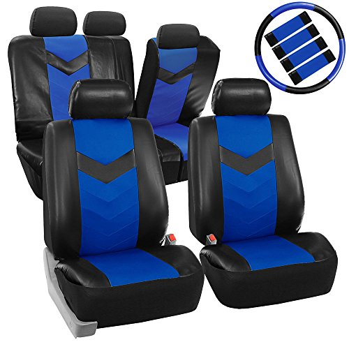 (FH GROUP FH-PU021115 Synthetic Leather Full Set Auto Seat Covers w. Steering Wheel Cover & Seat Belt Pads, Blue Black Color - Fit Most Car, Truck, Suv, or Van)