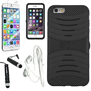 [ARENA] BLACK HYBRID SHIELD STAND COVER FITTED HARD GEL CASE for APPLE IPHONE 6 PLUS + FREE ARENA ACCESSORY KIT