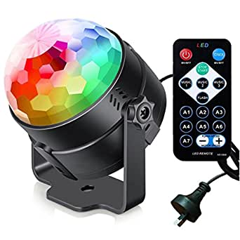 Disco Ball Party Lights iThird Sound Activated 7 Modes DJ Lighting Stage Lighting RBG LED Strobe Lamp with IR Remote AU Plug for Party Birthday Bar Karaoke Christmas Wedding Show Club Pub House