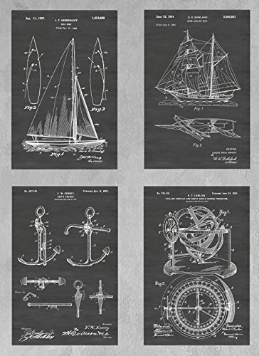 Sailboat and Sailing Wall Decor Collection: Set of Four Patent Print Art Posters: Choose From Multiple Size and Background Color Options