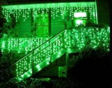 Miyole 96 LED White Icicle Light Outdoor Indoor Christmas Xmas Wedding Decorative Lighting 8 Function Lights(Green,End Tail Connector)