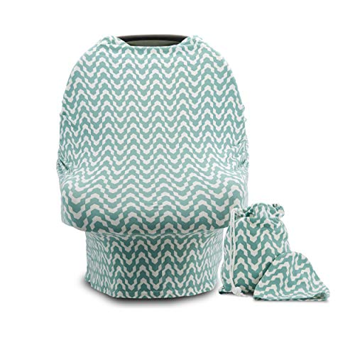 Car Seat Canopy with Two Free Bonuses - Carseat Cover for Infant/Baby - Also Functions as Nursing Cover for Breastfeeding Moms - Nurse with Confidence with This Soft and Stretchy Nursing Scarf