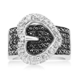 1/4 Cttw Black and White Diamond Heart Shaped Buckle Ring in Sterling Silver