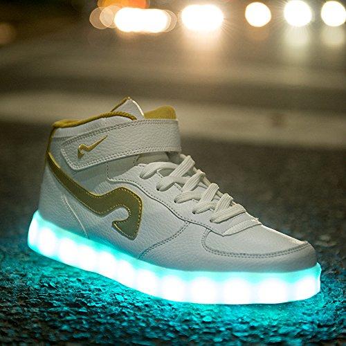 Mannen Vrouwen Mode Lichtgevende Schoenen Hoge Top Led-verlichting Usb Opladen Kleurrijke Schoenen Wit Goud