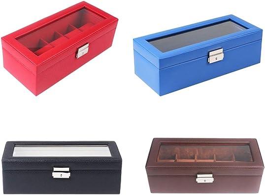 P Prettyia 4 Piezas De Cuero 5 Ranuras Reloj Caja Terciopelo Almohada Joyería Vitrina Organizador: Amazon.es: Joyería