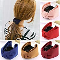 CHOUREN Sweet Girl Solid Hair Clip/Large Bow Hair Claws Ponytail Holder/Plastic Elastic Band Headwear/Hair Accessories…