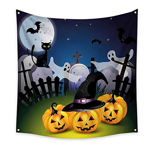 Halloween Simple Tapestry Funny Cartoon Design with Pumpkins Witches Hat Ghosts Graveyard Full Moon Cat Unique Tapestry Multicolor 63W x 63L Inch