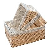 KINGWILLOW Storage Baskets(set of 3) Rectangular Herb bins with Lining, (Natural) (Set of 3, Natural)