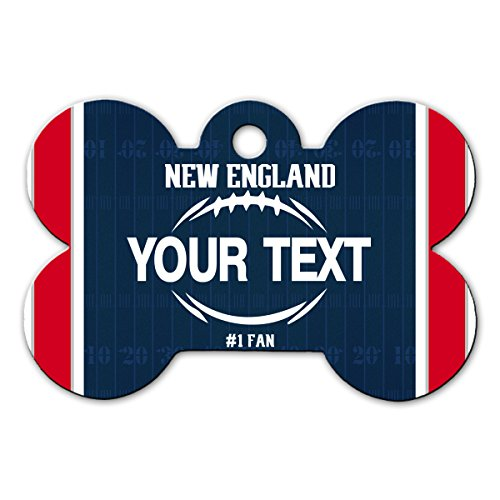 (BleuReign(TM Personalized Custom Name Football New England License Plate Bone Shaped Metal Pet ID Tag with Contact)
