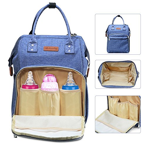 Multi-Function Diaper Bag Waterproof Travel Backpack Nappy Bags for Baby Care with Insulated Pockets, Large Capacity Mom Bag by Lifeasy (Light Purple) (4 Set Smart Piece Luggage)