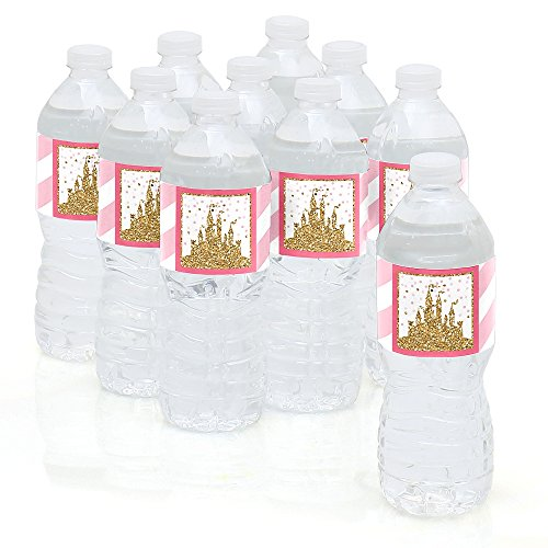 Little Princess Crown - Pink and Gold Princess Baby Shower or Birthday Party Water Bottle Sticker Labels - Set of 10