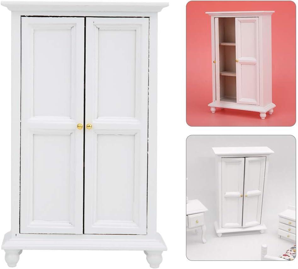 Tnfeeon 1:12 Dollhouse Miniature White Wooden Wardrobe Pretend Play Wardrobe Double Door Household Closet Dollhouse Furniture Accessory Decor