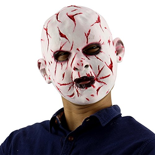 Timall Novelty Latex Horror Masks Halloween Costumn for Party Scary Head Mask Face for Adult,Old Man Mask with Hair for Halloween -