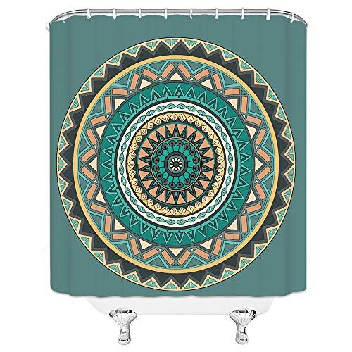 (Color Mandala Shower Curtain Ombre Mandala Inner Peace Meditation Vibrant Ornamental Ethnic Illustration Decor Polyester Cloth Waterproof Bathroom Set Curtains 70x70 Inch With Hooks Malachite Green )