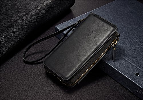 DRUnKQUEEn iPhone 7 Plus Zipper Wallet Purse Type Leather Case Protective Shell Detachable Folio Flip Holster Carrying Case with Card Slot Series&Wrist Strap for iPhone 7 Plus Black