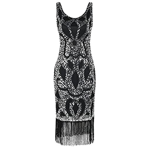 PrettyGuide Womens 1920s Sequin Art Deco Hollow Paisley Cocktail Flapper Dress M Silver