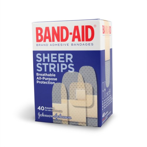 Band-Aid Adhesive Bandages, Sheer Strips, Assorted, 40 ct