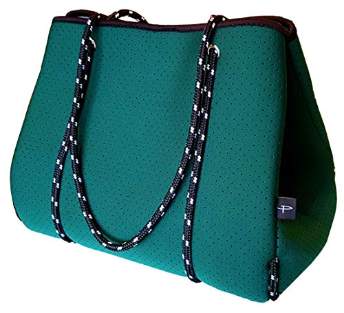 Light Designer Tote Bag for Women, Neoprene Shoulder Carry Hobo Bag, Large & Durable in Forest ()