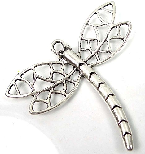1 Silver Pewter Filigree Dragonfly Focal Charm Pendant 59x65mm ~ Lead-Free ~