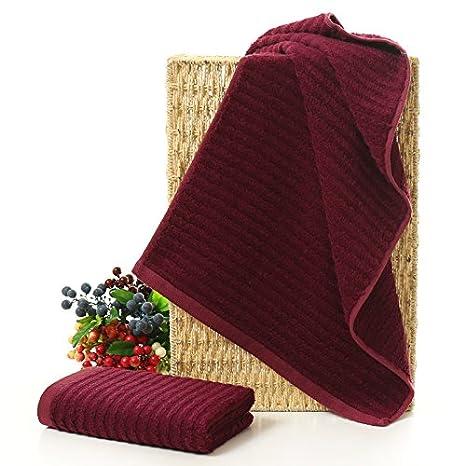 mmynl bambú fibra toallas de algodón puro de grosor rayas cara Toallitas parejas Toallas rojo 76 x 34 cm: Amazon.es: Hogar