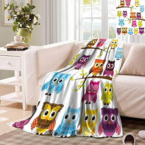 - Cozydaily Nursery Lightweight Blankets Set of Patchwork Quilt Style Owls on Branches with Green Leaves Bird Mascots Print Plush Comfort Blankets for Sofa Bed Travel Baby 60