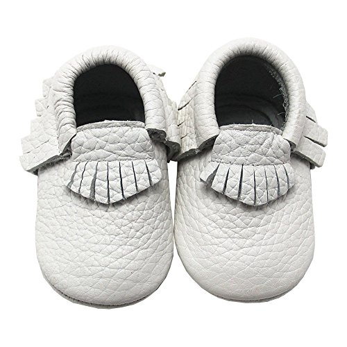Mejale Baby Shoes Soft Soled Leather Moccasins Slip-on Infant Toddler Pre-walker(white,3-6 months)