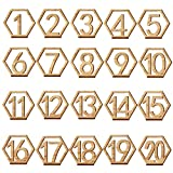 Alinay 1-20 Wooden Wedding Table Number with Holder Base for Wedding, Party, Events or Catering Decoration(The newest style)