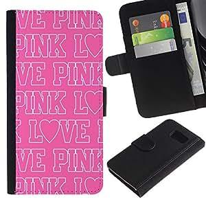 A-type (Pink Love Text White Repetitive Pattern) Colorida Impresión Funda Cuero Monedero Caja Bolsa Cubierta Caja Piel Card Slots Para Samsung Galaxy S6