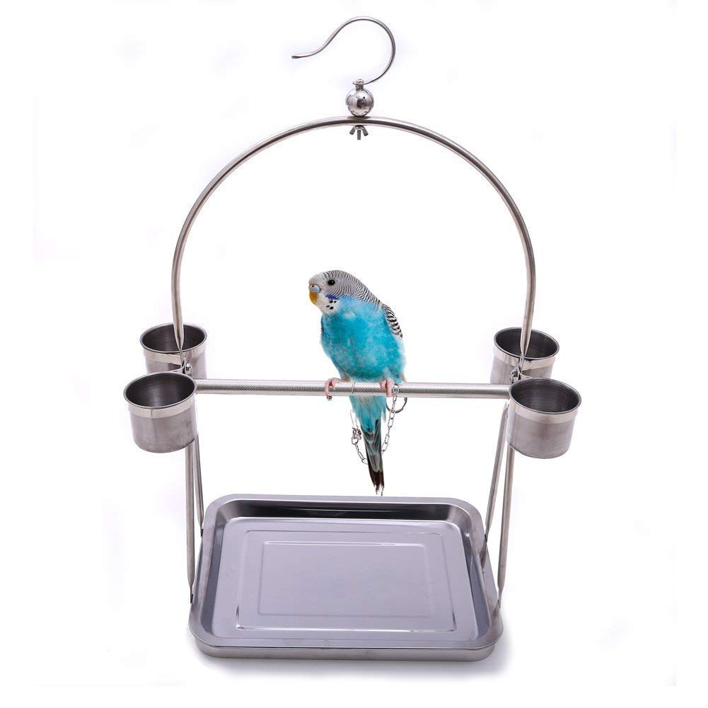 Bird Platform Playground Stainless Steel Perch Gym Stand with Food Bowls for Parrot Macaw African Grey Budgies Parakeet Conure Cage Exercise Toy (L) by Wontee