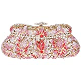 Santimon Women Clutch Bread Shaped Flower Clutch Purse Bling Crystal Evening Bags with Removable Strap and Gift Box 4 Color