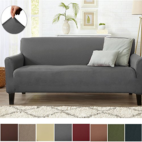 Home Fashion Designs Form Fit Stretch, Stylish Furniture Cover/Protector Featuring Lightweight Twill Fabric. Dawson Collection Basic Strapless Slipcover Brand. (Sofa, Grey)