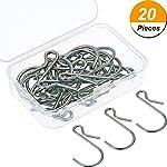 Mtlee Hanging Hooks S Shaped Metal Hooks Clip Hangers with Storage Box for Bathroom Bedroom Office