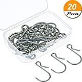 Mtlee 20 Pieces Hanging Hooks S Shaped Metal Hooks Clip Hangers with Storage Box for Bathroom Bedroom Office
