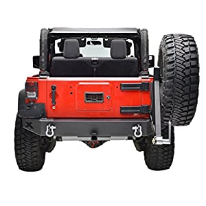 "Restyling Factory Black Jeep Wrangler JK Rear Bumper with Tire Carrier and 2"" Hitch Receiver"