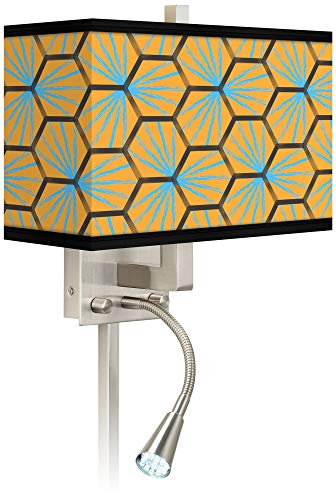 Hexagon Starburst Giclee LED Reading Light Plug-in Sconce - Giclee Glow