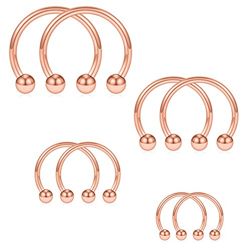 SCERRING 8PCS 16G Stainless Steel Nose Septum Horseshoe Earring Eyebrow Septum Lip Helix Tragus Cartilage Piercing Ring 6mm,8mm,10mm,12mm - Rose Gold (For Gold Women Horse Rings)