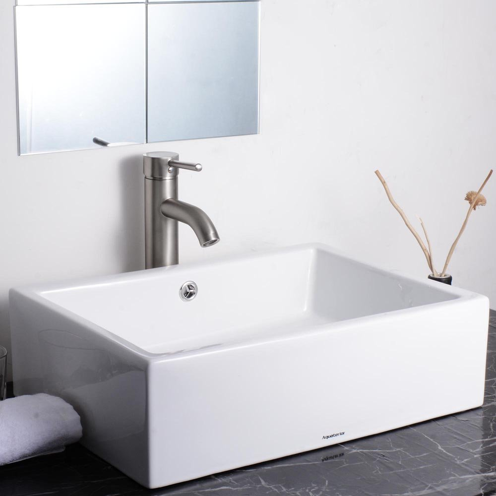 Bathroom available in 5 finishes vessel bathroom sinks msrp 425 - Aquaterior 20 2 7 X14 1 4 X6 Rectangle White Porcelain Ceramic Bathroom Sink W Free Chrome Drain And Overflow Amazon Com
