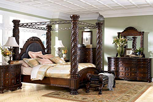 """Ashley Furniture """"North Shore 5 Piece Canopy Bedroom Set in King or California King (King)"""