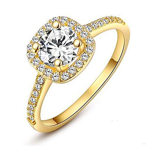 Winter Z Womens Jewelry Circular Bead Square Ring Diamond 18K Gold Ring Wedding,Ring Size 9
