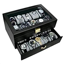 Ikee Design Leatherette 20 Watch Collector Case Box for Large Watches with Golden Color Lock and Keys