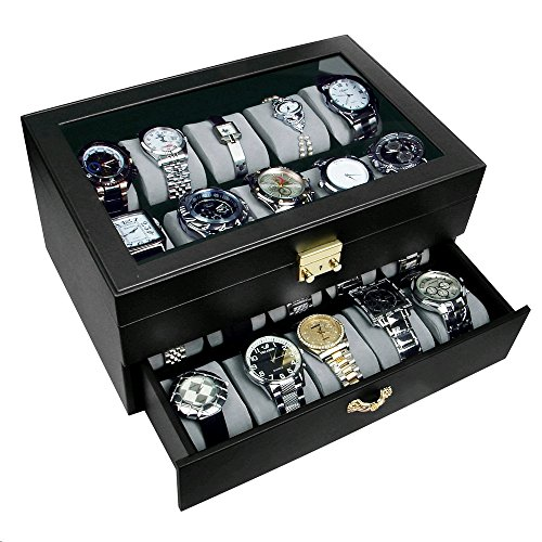 Ikee Design Leatherette 20 Watch Collector Case Box for Large Watches with GOLDEN color Lock and Keys from Ikee Design