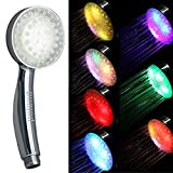 Rainbow Shower Head POLEND Rainbow 7 Color Changing LED Light Handheld Showerhead, Bathroom Showerhead, Easy Install, Water Powered (two-year warranty)