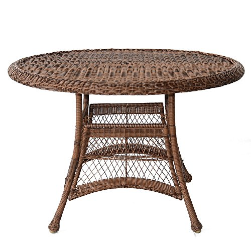 Jeco W00205D-C Wicker Round Dining Table, 44