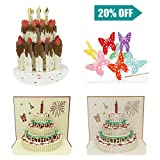 Upop 3D Pop-up Birthday Card - Envelopes Included, 4 Designs, Butterfly & Cake, 5.1''x6.1'', 3D Happy Birthday Greeting Gift Cards by, Ideal for Kids, Girls, Teens, Men, Women of All Ages