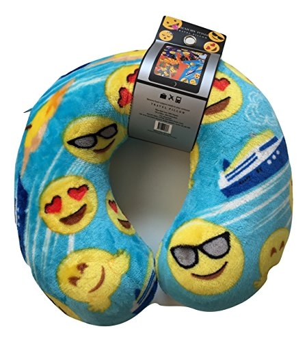 Emoji Faces Round Velvet Memory Foam U Shaped Travel Pillow Neck Support Head Rest Cushion Kids Plush Soft Toy Toddlers Teens Emojies Expressions (Cute Homemade Ladybug Costumes)