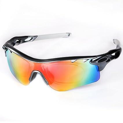 Beschoi - Gafas de Sol Deportivas Polarizadas con 5 Lentes de Cambios UV400 100 % Protección UVA/UVB TR90 [con Botón para Cambiar Lente] para Deporte ...