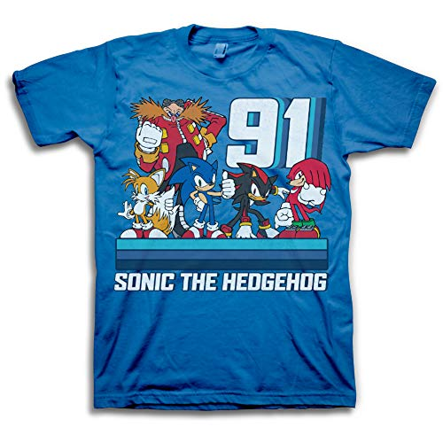 Sega Boys Sonic The Hedgehog Shirt - Featuring Sonic, Tails, and Knuckles - The Hedgehog Trio - Official T-Shirt (Royal 91, 5/6) -
